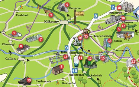 Map Of Ireland Showing Kilkenny.Kilkenny City Maps Kilkenny County Maps Walking And Cycle Trails
