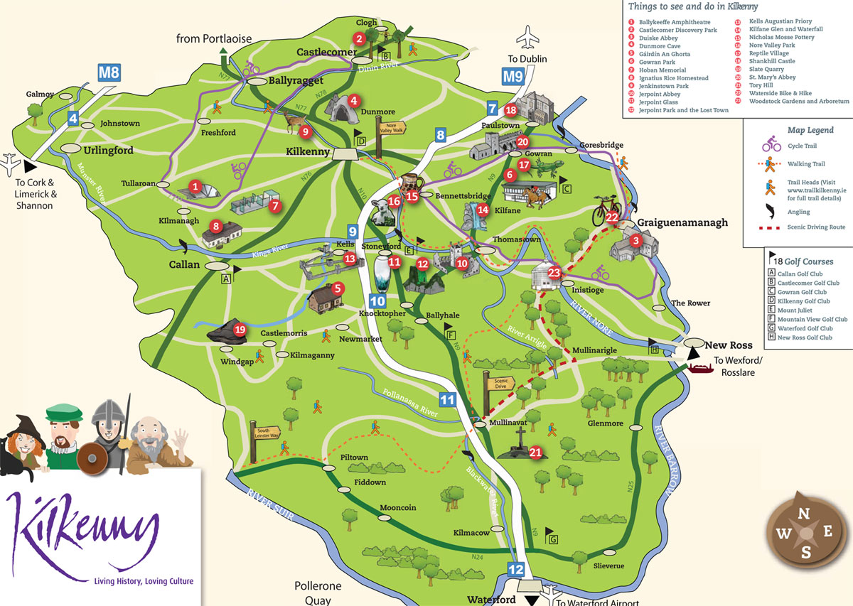 Kilkenny City Maps, Kilkenny County Maps, Walking and Cycle Trails