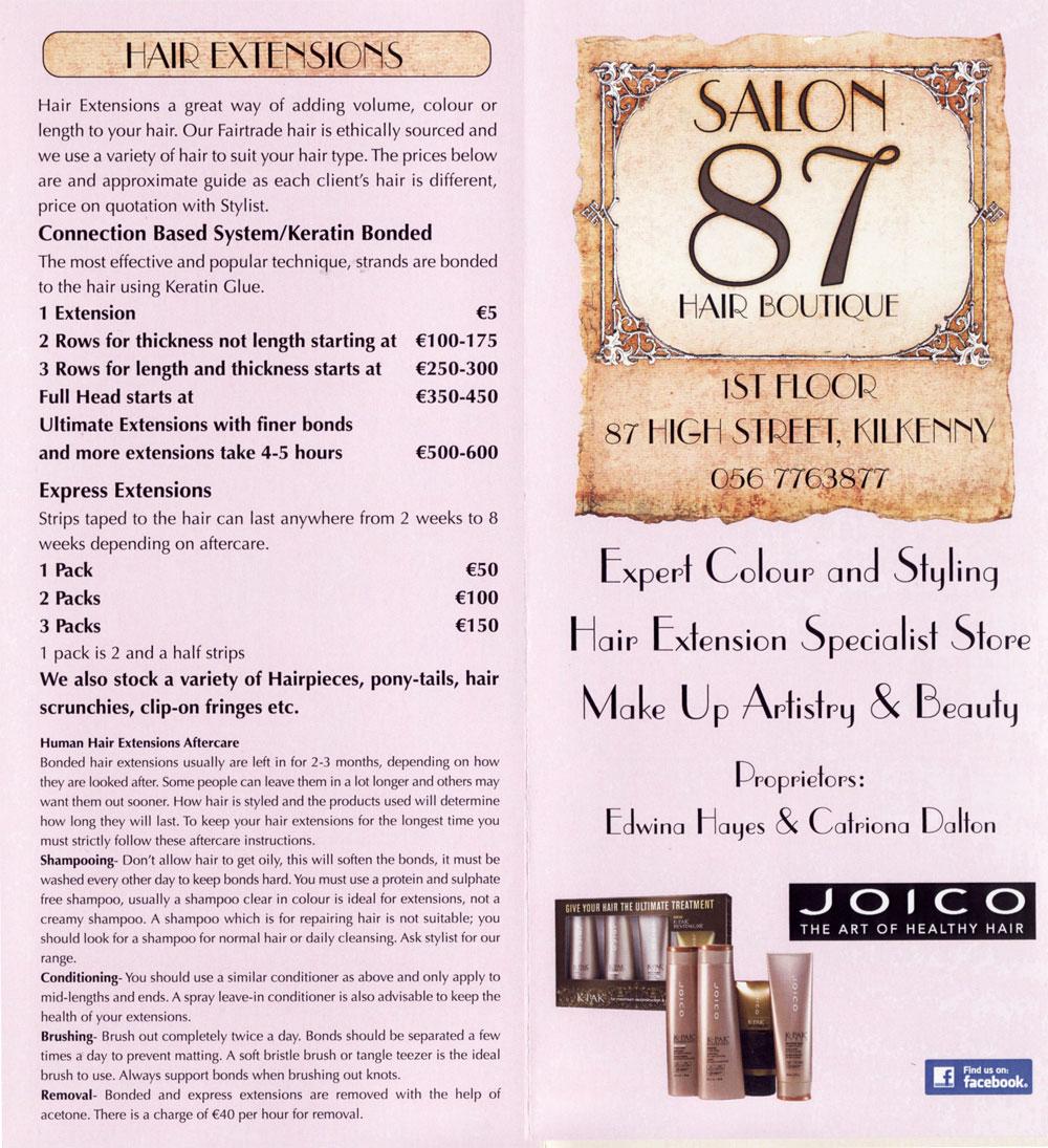Wedding Hairstyle Price List: Hairdressers In Kilkenny, Salon 87 Hair Boutique, Wedding