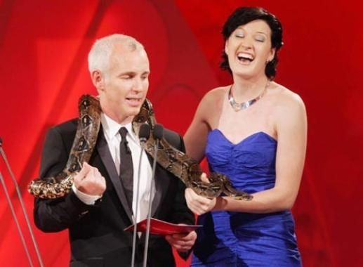 "Toronto Rose, Sarah Sulivan, with our Boa constrictor ""Cooper"", during the Rose of Tralee Festival."